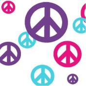 Peace Sign Wall Sticker Decals-(24) Hot Pink, Teal, Purple Vinyl Peel & Stick