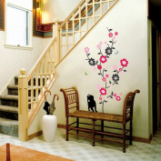 Easy Instant Decoration Wall STicker Decal - ECO Cubic Black Kitten & Flowers