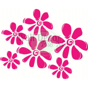 Hot Pink Girl's Wall Flower Decal 9 Lg Floral Stickers