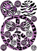 Sixties Theme Purple Leopard / Cheetah and Zebra Print Peace Sign Wall Decals / Stickers