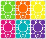 Wall Dots Decals-Fun Colours (126) Polka Dot Wall Sticker Peel & Stickers