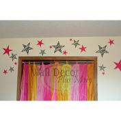 Hot Pink Zebra Star Wall Sticker Vinyl Decal 20cm Variety 9pc