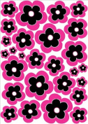 27 Pink and Black Flower Wall Stickers,decal, Graphics