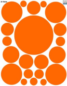 Dot Wall Stickers-(21) Orange Polka Dot Wall Decals Appliques