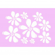 White Girl's Wall Flower Decal 9 Lg Floral Stickers