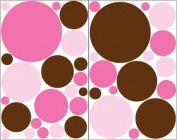 Two Pinks and Brown Dot Wall Stickers