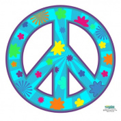 Peace Sign Groovy Teal Decals for Teen Room Walls