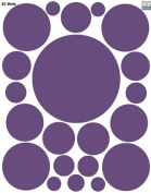 Polka Dot Wall Decals (21) Peel & Stick Purple Dot Decals for Kids Rooms