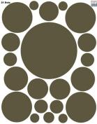 Brown Wall Sticker Dots (21) Polka Dot Wall Decal Appliques