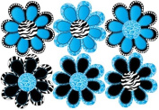 Turquoise Blue Zebra and Leopard Print Purple Animal Print octi- petal Flowers Wall Stickers, Decals