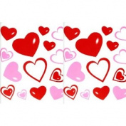 Red & Pink Hearts Vinyl Removable Repositionable Wall Decals