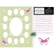 Baby Sage Butterfly and Flower Photo Mat 11 x 14