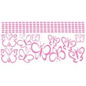 Soft Pink Girls Room Wall Vinyl Butterflies Decal Sticker 11 Pc 13cm .
