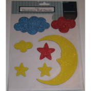 Moon and Stars Glitter Decorative Wall Decals