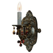 Sutton Collection 5201-VB-AMBER Sutton Collection Natural Wrought Iron Wall Sconce Accented with Murrano Crystal