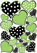 Lime Green and Black Polka Dot Heart Wall Decals Stickers