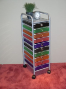 4D Concepts 10 Drawer Rolling Storage in Multi Colour Drawers