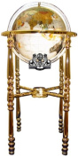 Unique Art 90cm by 33cm Floor Standing Full Cut Mop Mother of Pearl Gemstone World Globe with Gold 4-Leg Stand