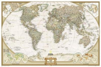 World Executive, Poster Size, laminated Wall Maps World (National Geographic Reference Map)