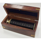 38cm Handheld Brass Telescope with Wooden Box