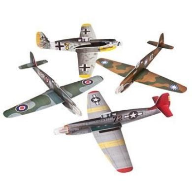 4 Large War Plane Foam Gliders