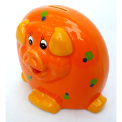 15cm Tall Ceramic Piggy Bank - Orange [Toy]