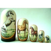 Horses Russian Nesting Nested Stacking Doll 5 / Pc 15cm * hrs.16