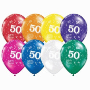 50th Birthday Balloons Jewel Colours, Bright 50th Balloons