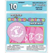 Printed Balloons 30cm , 10/Pkg, Happy 1st Birthday-Pink