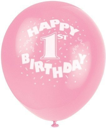 30cm Pink Happy 1st Birthday Latex Balloons 6ct By Party Supplies