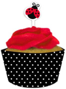 Creative Converting Ladybug Fancy Cupcake Wrappers With Picks