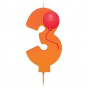Numeral Birthday Candle 8.9cm w/Balloon #3