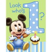 Disney Mickey's 1st Birthday Invitations (8) Party Supplies