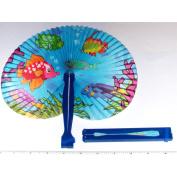 ~ 12 ~ Tropical Fish / Luau Folding Fans ~ 25cm ~ Paper with Plastic Handles ~ NEW