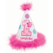 Baby Gift Idea AM259569 Amscan First Birthday Cone Hat with Feathers - Girl