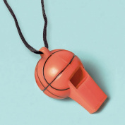 Amscan Party Perfect Basketball Mini Whistle Favours, Brown/Black, 5.7cm x 3.2cm