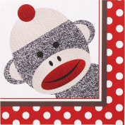 Sock Monkey Red Lunch Napkins (20) Party Supplies