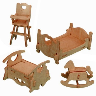 3-D Wooden Puzzle - Dollhouse Bedroom Furniture Set -Affordable Gift for your Little One! Item #DCHI-WPZ-P010