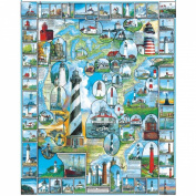 """White Mountain Puzzles By The Sea Collection Jigsaw 1000 Pieces 60cm X30""""-American Lighthouses"""