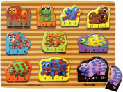 Puzzled Raised Puzzle - Animals Math Wooden Toys