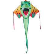 Large Easy Flyer Kite - T-Rex Dinosaur (120cm X 230cm ) with 90m 14kg Test Kite String and Winder