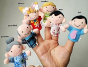 6 Pc Soft Plush My family Finger Puppet Set Includes Grandma Granddad Sister Brother Mom Dad