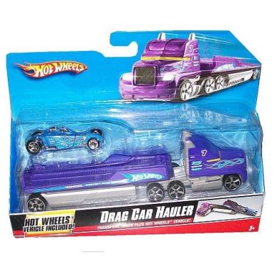Hot Wheels Truckin Transporters 1:64 Scale Truck - Drag Car Hauler