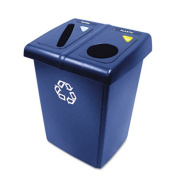 Rubbermaid Commercial 1792339 Glutton Recycling Station, 2-Stream, 174.1l, Blue