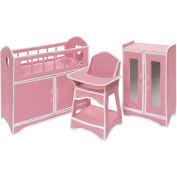 Badger Basket Folding Doll Furniture Set with Storage Crib, High Chair, and Armoire