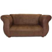 Fantasy Furniture Sofa and Chair - Fancy Set Brown Microsuede