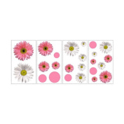 RoomMates Wall Stickers 13cm . x 29cm . Flower Power Peel and Stick Wall Decals Reds / Pinks RMK1013SCS