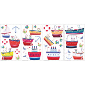 RoomMates Wall Decorations 13cm . x 29cm . Ship Shape Peel and Stick Wall Decals Multi RMK1134SCS