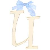 23cm White Wooden Hanging Letter Room Decor U - Blue Ribbon