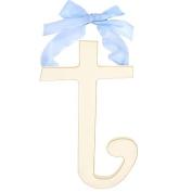 New Arrivals 23cm White Wooden Hanging Letter Room Decor T - Blue Ribbon